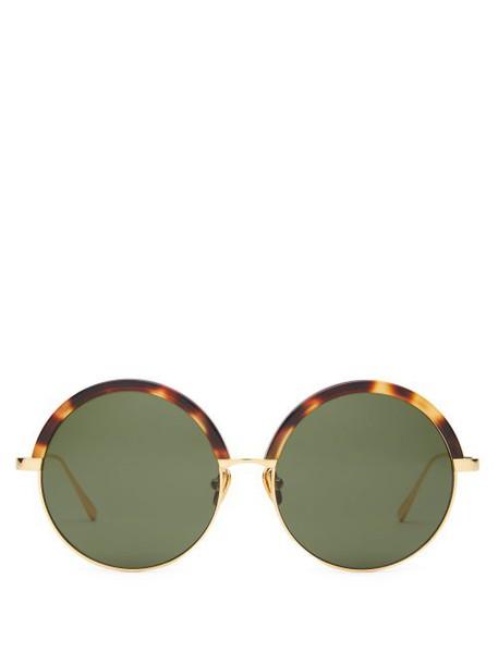 Linda Farrow - Round Acetate And Metal Sunglasses - Womens - Dark Green