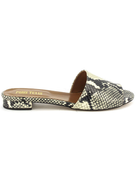 Paris Texas Python Snakeskin Slip-on Sandals in natural