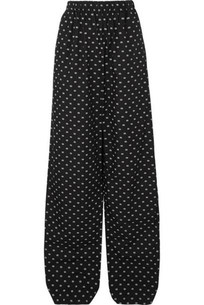 Balenciaga - Printed Cotton-poplin Wide-leg Pants - Black