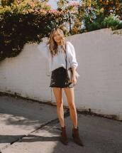 sweater,knitted sweater,ankle boots,brown boots,denim skirt,black skirt,mini skirt,gucci bag,crossbody bag
