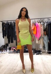 top,neon,skirt,vinyl,vinyl skirt,kim kardashian,mini skirt,celebrity,kardashians,instagram,tank top