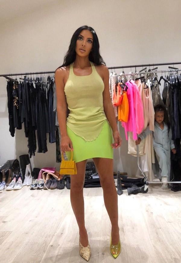 top neon skirt vinyl vinyl skirt kim kardashian mini skirt celebrity kardashians instagram tank top