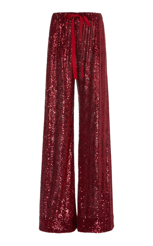 Naeem Khan Sequined Wide-Leg Pants Size: S in red