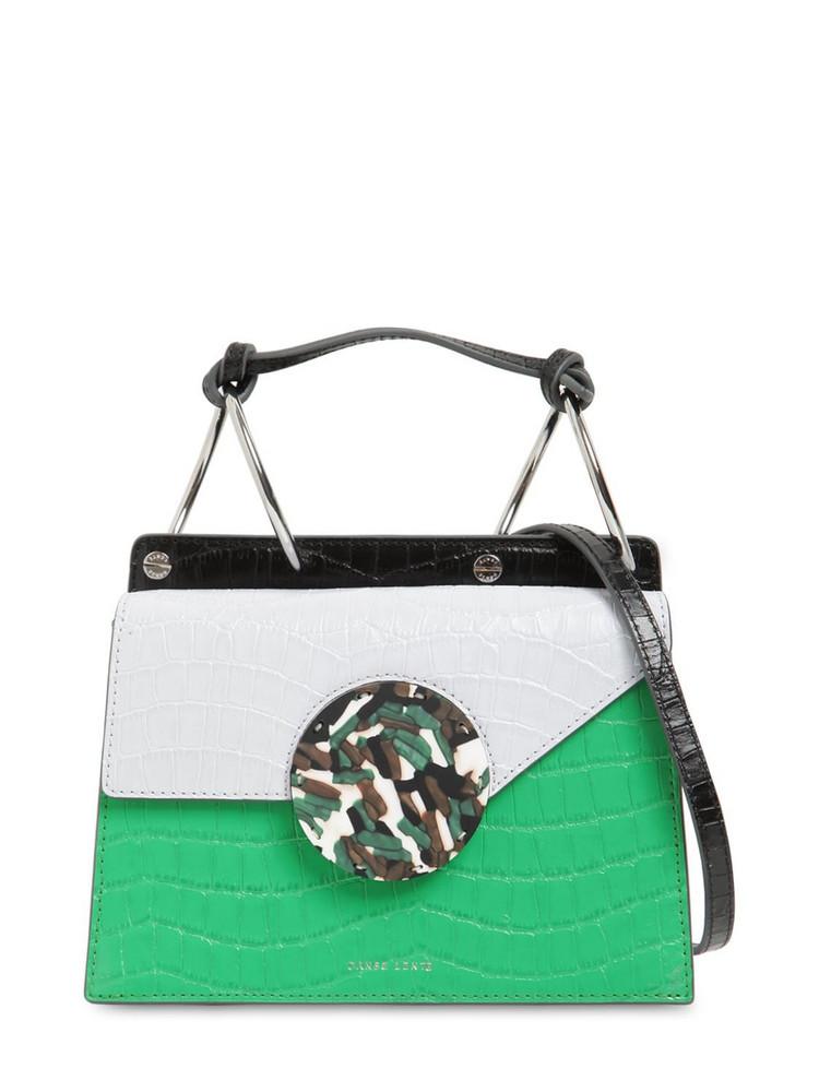 DANSE LENTE Phoebe Bis Croc Embossed Leather Bag in blue / emerald