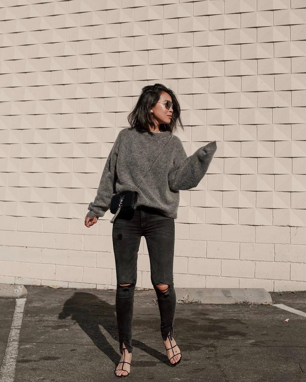 sweater knitted sweater acne studios black sandals ripped jeans skinny jeans ysl bag crossbody bag black bag