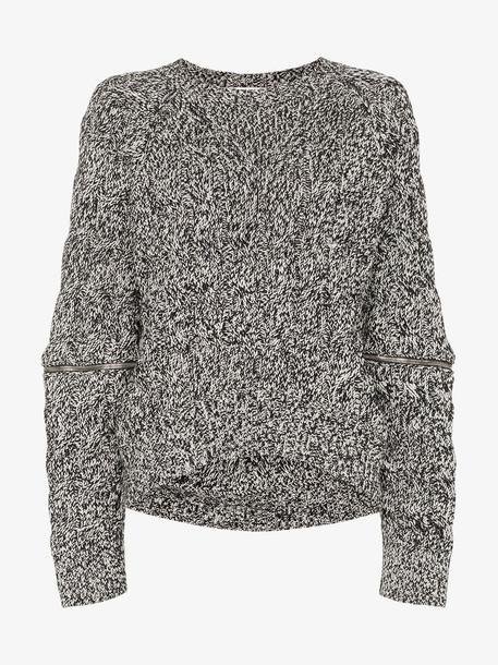Alexander McQueen zip sleeve chunky wool jumper in black