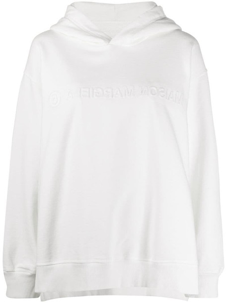 MM6 Maison Margiela reversed logo embossed hoodie in white