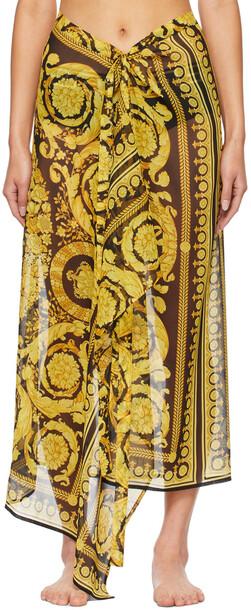 Versace Underwear Black & Yellow Silk Barocco Coverup