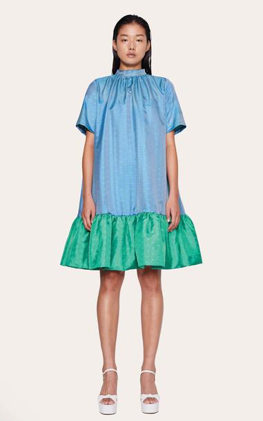 Stine Goya Wendy High Neck Drop Waist Dress Size: XXS in blue