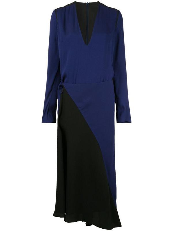 Haider Ackermann long sleeve wrap dress in blue