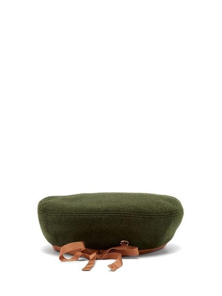 Gucci - Leather-trim Wool-blend Beret - Womens - Green