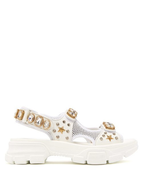 Gucci - Aguru Crystal Embellished Leather And Mesh Sandals - Womens - White