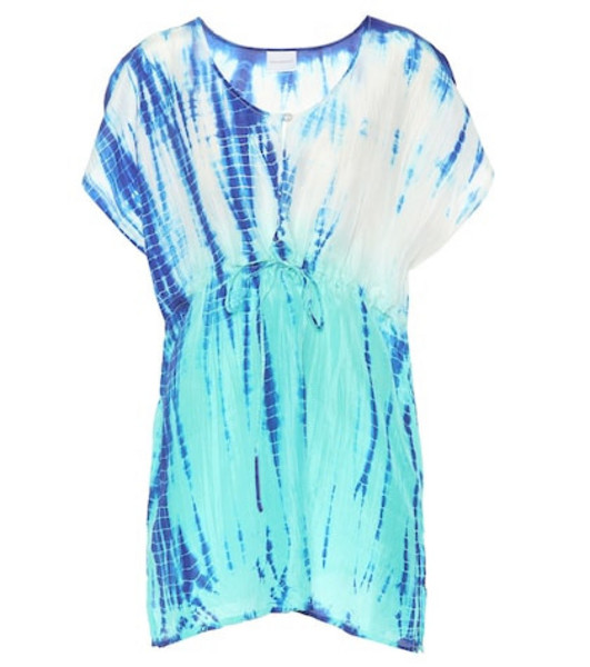 Anna Kosturova Tie-dye silk cover-up in blue
