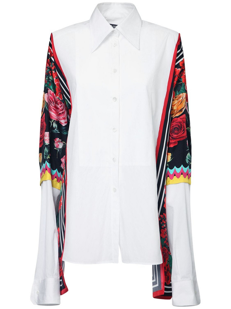 DOLCE & GABBANA Cotton Poplin Shirt W/ Printed Sleeves in white / multi