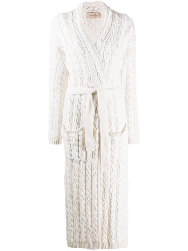 Gentry Portofino cable knit cardigan in white