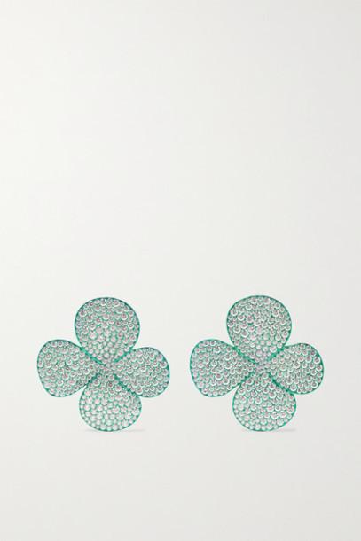 G by Glenn Spiro - Clover Leaf Titanium Diamond Earrings - Green