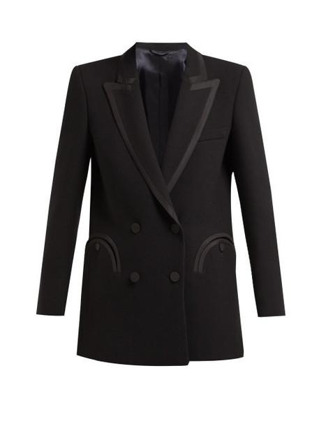 blazer double breasted black wool jacket