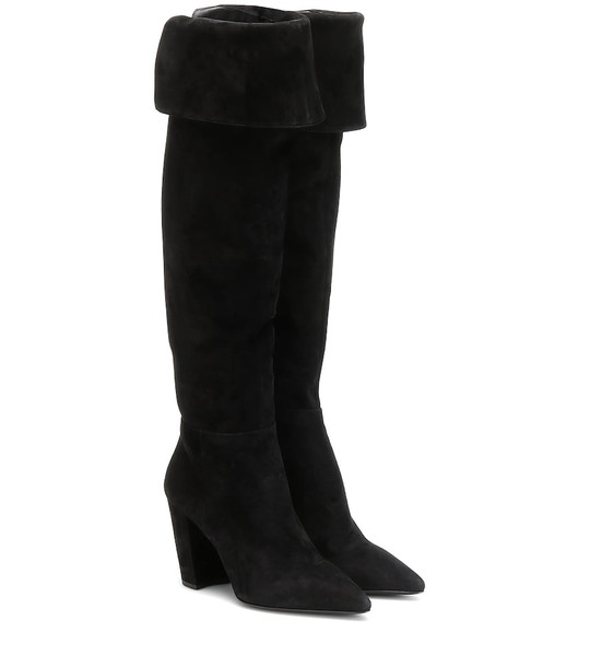 Prada Suede over-the-knee boots in black