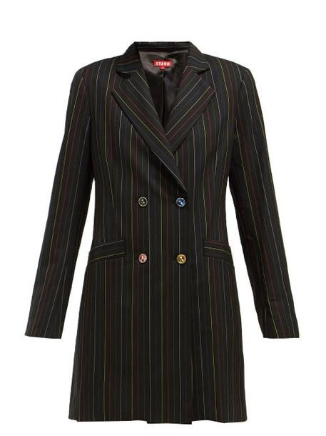 Staud - Roxy Pinstriped Crepe Blazer Dress - Womens - Black Multi