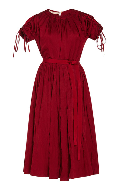 Brock Collection Pietrina Tie Sleeve Knee-Length Dress Size: 2 in red