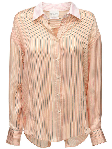 FORTE FORTE Striped Satin Shirt W/ Open Back in pink