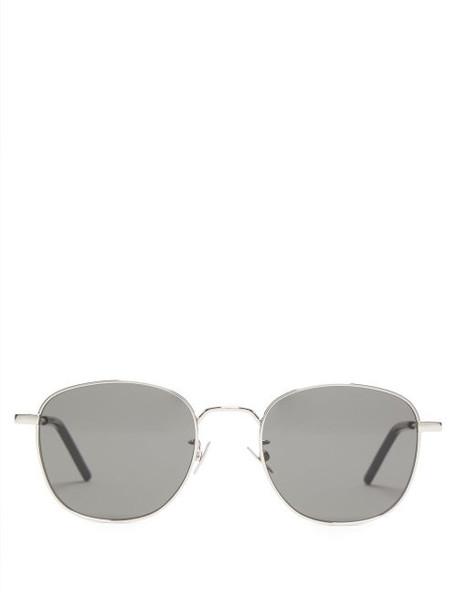 Saint Laurent - Round Metal Sunglasses - Womens - Silver Multi