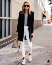 jeans,white jeans,skinny jeans,white sneakers,shoulder bag,black coat,sweater,black sunglasses