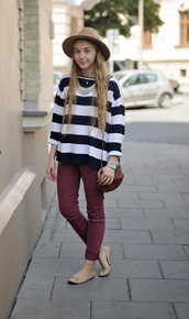 striped sweater,ballet flats,sweater,hat,shoes