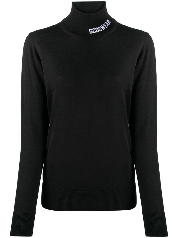 Gcds high neck knitted jumper in black