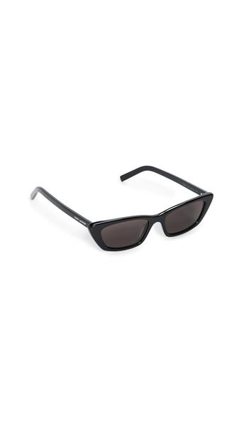 Saint Laurent Narrow Acetate Cat Eye Sunglasses in black / grey