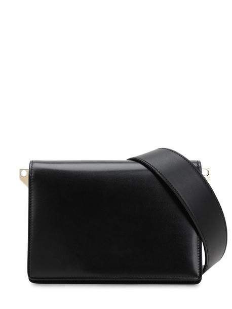 VALEXTRA Swing Suede & Leather Shoulder Bag in nero