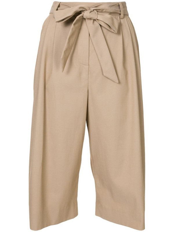By Any Other Name pleated knee-length trousers in brown