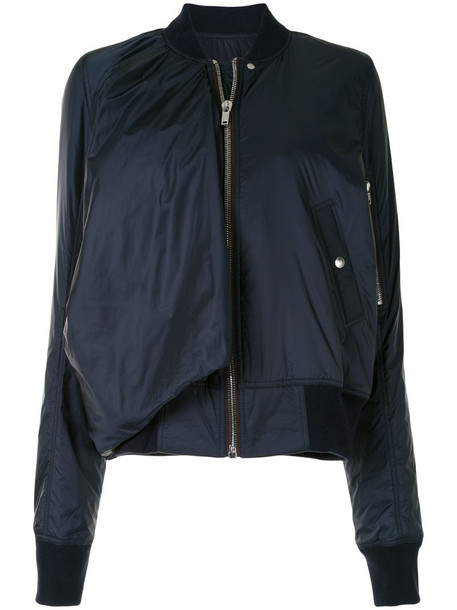 Rick Owens draped rib-trimmed bomber jacket in blue