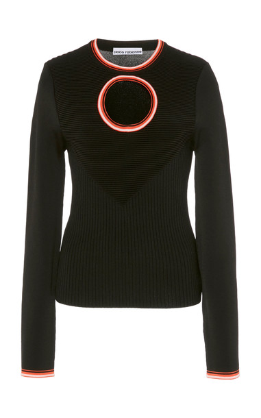 Paco Rabanne Contrast-Trim Cutout Ribbed-Knit Sweater Size: S in black