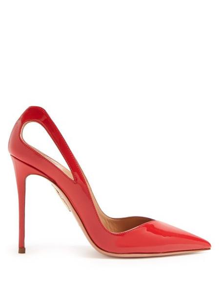 Aquazzura - Shiva 105 Patent Leather Pumps - Womens - Red