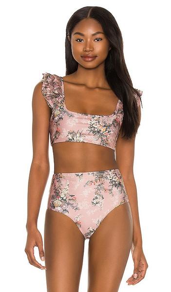 Agua Bendita Arielle Papier Bikini Top in Pink in rose