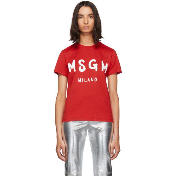 MSGM Red Paint Brushed Logo T-Shirt