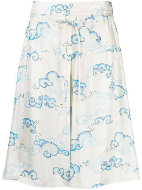 LANVIN cloud print fluid shorts in neutrals