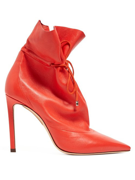 Jimmy Choo - Stitch 100 Drawstring Leather Ankle Boots - Womens - Red