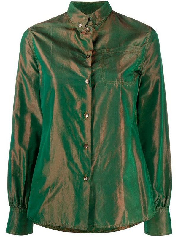 Jean Paul Gaultier Pre-Owned 1990s iridescent effect button-down shirt in green