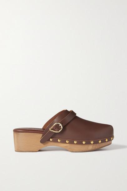 Ancient Greek Sandals - Classic Studded Leather Platform Clogs - Brown
