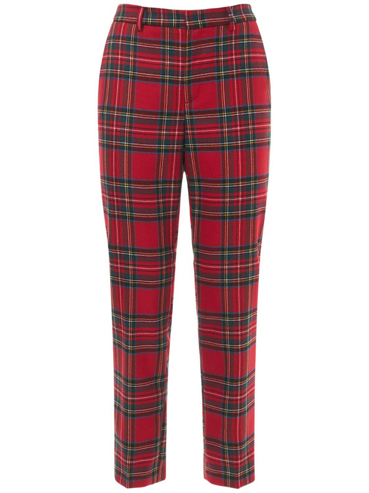 RED VALENTINO Check Wool High Waist Pants in red / multi