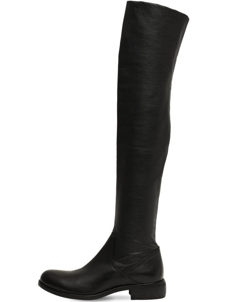 STRATEGIA 30mm Stretch Faux Leather Boots in black