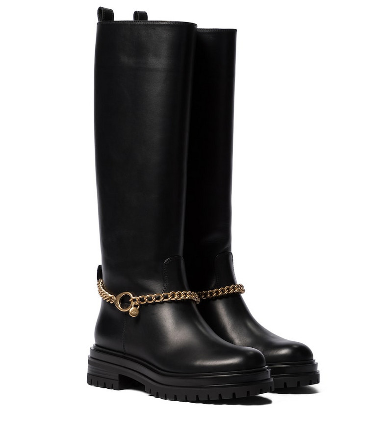 Gianvito Rossi Fallon leather knee-high boots in black