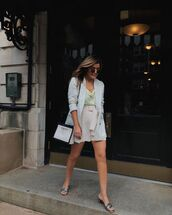 shorts,High waisted shorts,white shorts,blazer,white bag,top,sandal heels