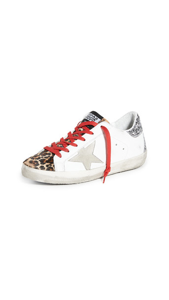 Golden Goose Superstar Sneakers in brown / silver / white