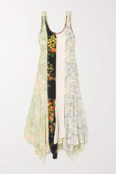 JW Anderson - Asymmetric Patchwork Floral-print Georgette Maxi Dress - Black