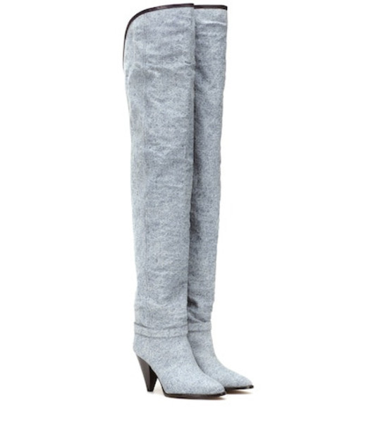 Isabel Marant Learon denim over-the-knee boots in blue