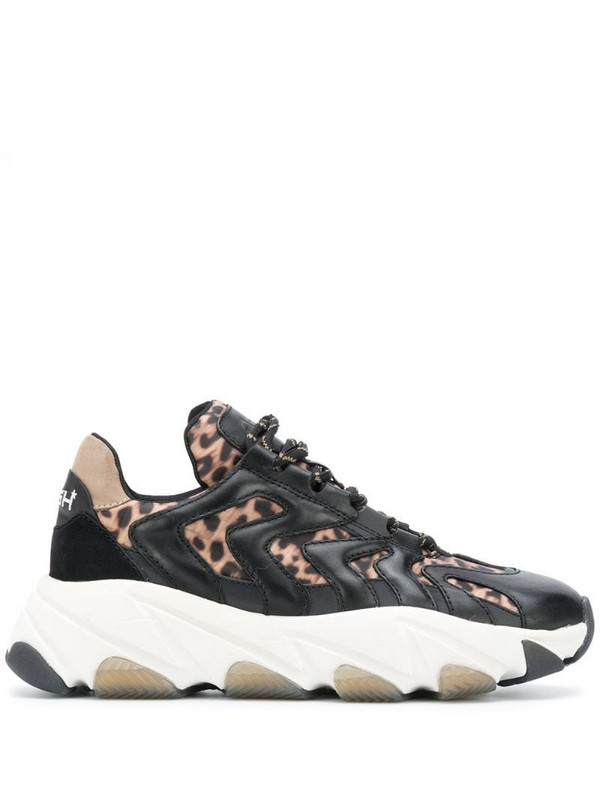 Ash Extreme leopard-print chunky sneakers in black