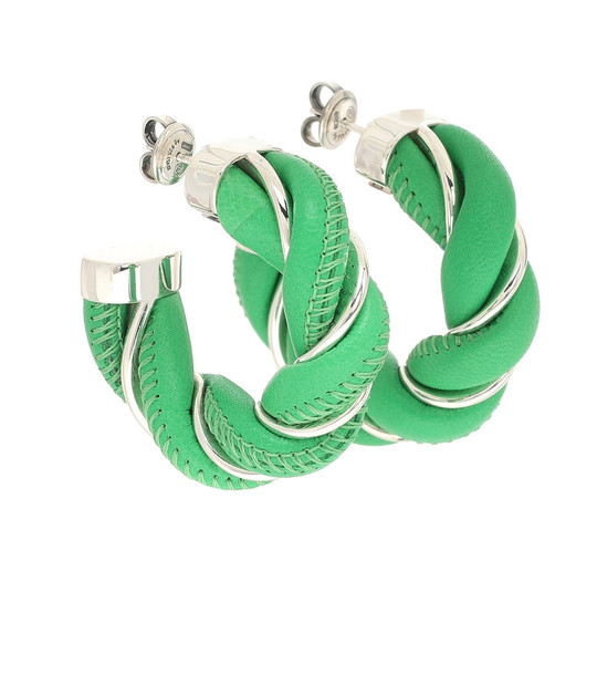 Bottega Veneta Leather and sterling silver earrings in green